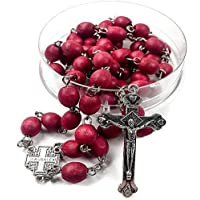 HOLYLAND AND JERUSALEM TREASURES Jesus Christ Rosary Wood Metal Necklace Cross Rose Scented with Wooden Beads for Men and Women