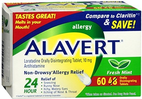 Alavert 24 Hour Orally Disintegrating Tablets Fresh Mint 60 Tablets (Pack of 2) by Alavert Disintegrating Tablets