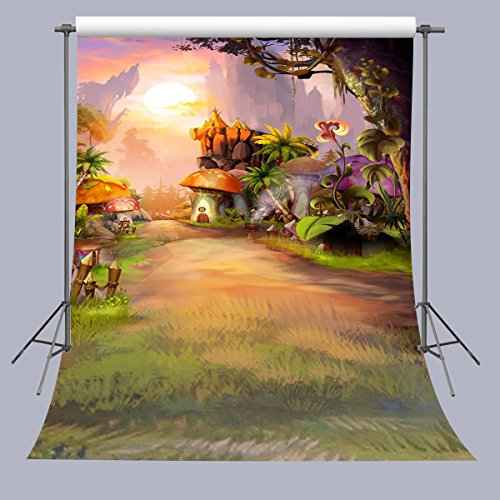 FUERMOR Photo Background 5X7FT Fairy Tale Mushroom House Photography Backdrop Studio Props For Children (Garden Backdrop)