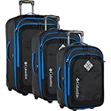Columbia 3 Piece Expandable Spinner Luggage Set, Black/Dark Blue
