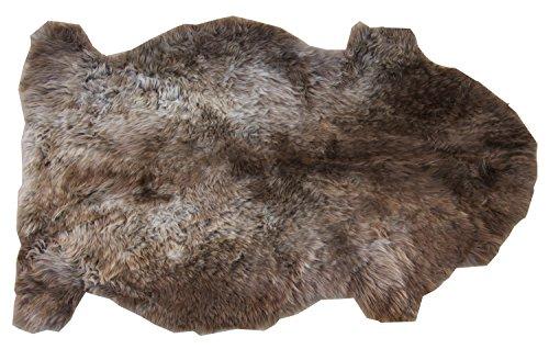 Schaffell Teppich MACCHIATO Naturbunt ungefärbt naturbelassen grau braun Dekofell Lammfell Länge 90 / 100 cm
