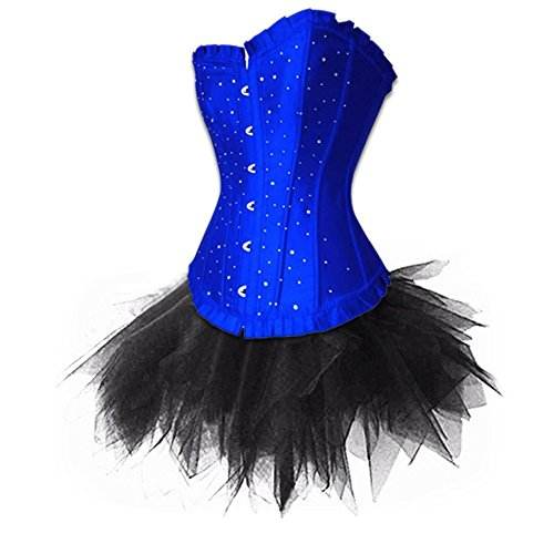 [BINCHENG Womens Satin Shiny Stones Overbust Corset TuTu Skirt Costume Set XXXXXX-Large Black] (Make Your Own Halloween Costume With Clothes)