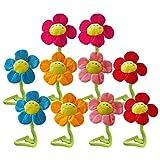10 PCS 32cm Bendable Plush Smiling Face Daisy Flower Toy Doll Curtain Buckle Random Color
