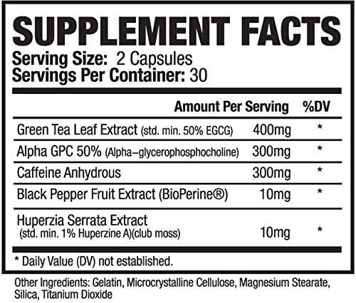 Rethink Nutrition Burner+ - Fat Burner, Clean Energy, Tunnel Vision Focus, Caffeine, Alpha-GPC, Green Tea Extract, Huperzine A, for Men and Women, Weight Loss Supplement, 60 Caps 2