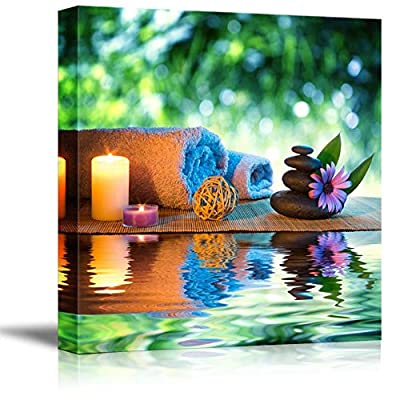Two Candles and Towels with Black Zen Stones and Purple Daisy on Water Spa Meditation Concept - Canvas Art Wall Art - 16
