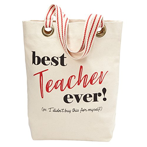 Mud Pie Best Teacher Ever Tote Bag, One Size, Off -