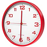 Vremi 10 inch Silent Universal Round Wall Clock - AA Battery Operated Easy to Install Non Ticking Indoor Decorative Easy Read - Colorful Analog Clock Great for Home Office Classroom or Garage - Red