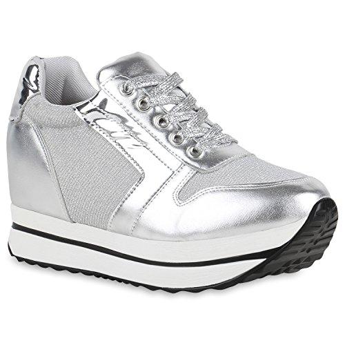 Stiefelparadies Damen Sneaker Wedges Sportschuhe Schnürer Lack Glitzer Turnschuhe Keilabsatz Schuhe Metallic Freizeitschuhe Flandell Silber Weiss Plateau