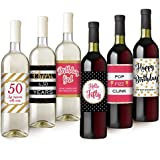 Hello Fifty Wine Bottle Labels | 50th Birthday Gift For Women | Birthday Party Decorations and Supplies | Set of 6