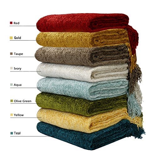 Decorative Chenille Thick Couch Throw Blanket With Fringe