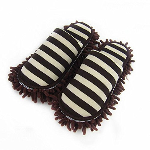 Solas Red Handheld - 1Pair Floor Cleaning Slippers Detachable Floor Wipe Striped Chenille Lazy Shoes Cover Home Cleaning Mop Dust Cleaner Slippers,Coffee