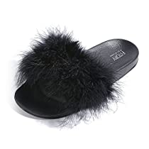 FITORY Slides for Womens Faux Fur Fuzzy Slippers with Arch Support in Flats Sandals Girls Outdoor IndoorShoes