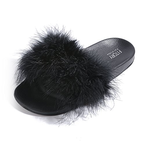 Slides for Womens Faux Fur Fuzzy Slippers with Arch Support in Flat Sandals Girls Outdoor Indoor Shoe, Black ,9-10 B(M) US by FITORY