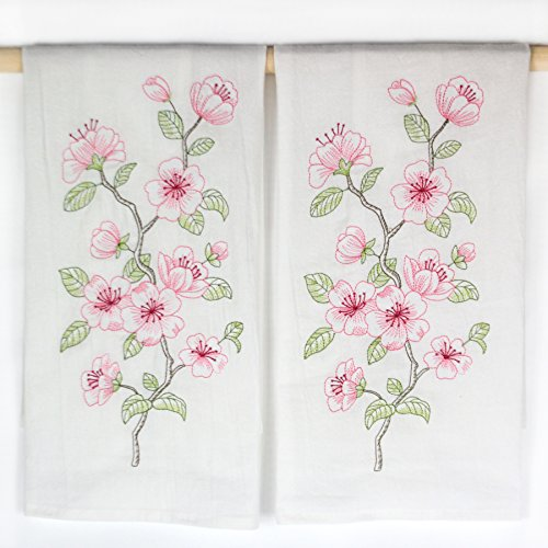 Pink Cherry Blossom Embroidered Flour Sack Kitchen Towels by C & F - Set of 2
