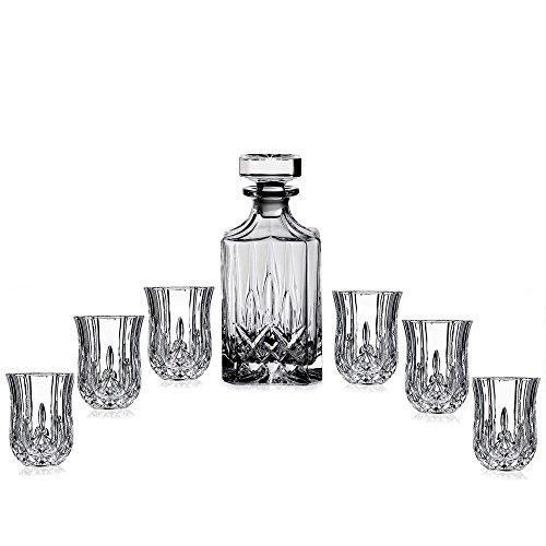 Elegant Crystal Liquor Whiskey and Wine Decanter Bar Set. Irish Cut 7 Piece Set 1 Decanter 450ml. 6 Tulip-shaped 2oz Shot Glasses
