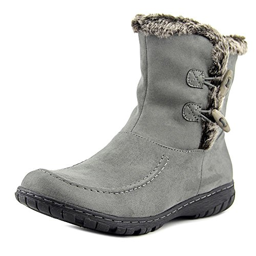 Women Round Toe Canvas Mid Calf Boot, Grey, Size 7.5 ()