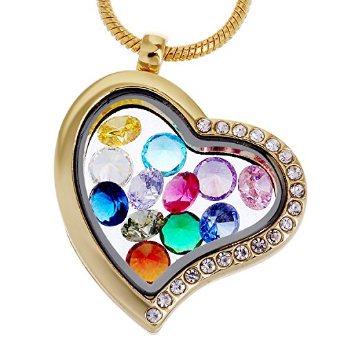 RUBYCA Living Memory Heart Locket Necklace 12 Round Crystal Birthstones Floating Charms Gold Tone]()