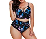 Atree Womens Bikini Dress Suit Swimsuit Plus Size Bathing Suits Black L