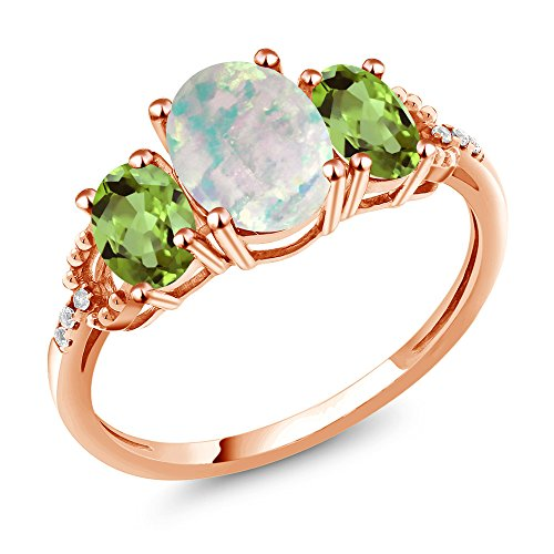 2.09 Ct Cabochon Simulated Opal Green Peridot 10K Rose Gold Diamond Accent Ring (Gold Peridot Gemstone Ring)