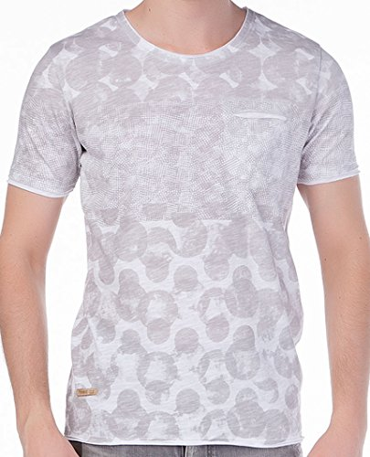 Red Bridge Mens Polka Dots T-Shirt Grau Weiß L