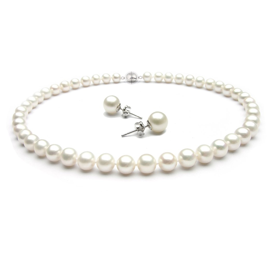 17//43.5cm; 18//46cm and 20//51cm With FREE pair of 8mm Pearl Stud earrings TreasureBay Stunning 8-9mm AA Grade Freshwater Pearl Necklace Choice of Length Pearl jewellery set