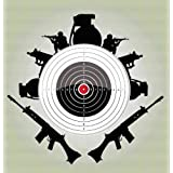 Decal - Vinyl Wall Sticker : Army War Soldiers Weapons Guns Shooting Range Target Bullseye Living Room Bedroom Kitchen Home Decor Picture Art Image Peel & Stick Graphic Mural Design Decoration - Size : 12 Inches X 12 Inches - 22 Colors Available