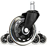 SunnieDog Office Chair Caster Wheels (Set of 5) - Heavy Duty & Safe for All Floors Including Hardwood - Perfect Replacement for Desk Floor Mat - Rollerblade Style w/Universal Fit - Black 11mm