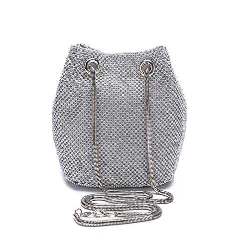 Peng Fang Bucket Bag Evening Bag Shoulder Bags for Women Crystal Rhinestone Small Handbag Party Prom Wedding Purse(silver)