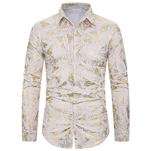 iLXHD Men's Dress Shirts Baggy Blazer Print Turn-Down Collar Button Long Sleeve Blouse KW-078 White from iLXHD