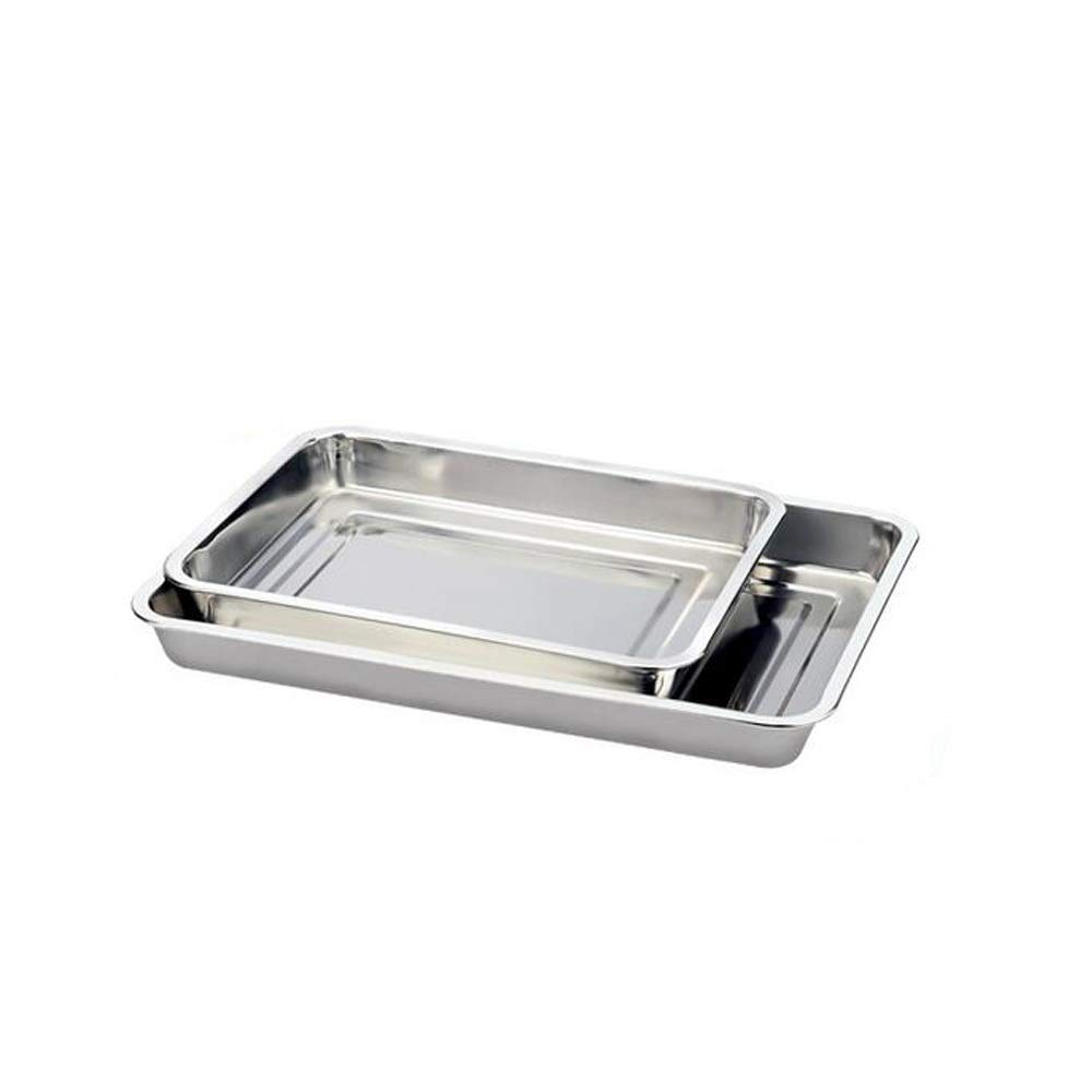 Xiaoninfmeng Stainless Steel Food Serving Tray - for Breakfast in Bed, Fast Food Tray, Party Service, Silver,Rectangle (Capacity : J)