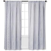 "Circo Stripe Print Grey & White Light Blocking Window Curtain Panels (2, 84""X42"")"