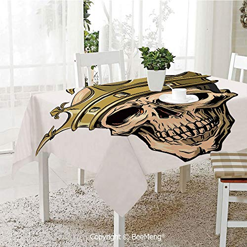 BeeMeng Large dustproof Waterproof Tablecloth,Family Table Decoration,King,Dead Skull Skeleton Head with Royal Holy Crown Tiara Hand Drawn Image,Golden and Light Brown,70 x 104 inches