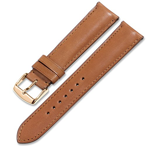 (iStrap Quick Release Leather Watch Band Wrist Calf Strap Men Women 20mm Soft Pin Buckle Brown)