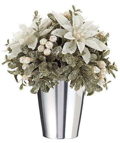 Poinsettia Topiary - Kissing Krystals Champagne White Poinsettia Kiss Pot Topiary, 6
