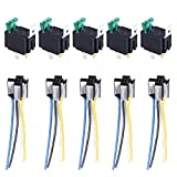 E Support™ 12V 30A Car Motor Heavy Duty Relay Socket Plug 4Pin Fuse On/Off SPST Wire Metal Pack of 5