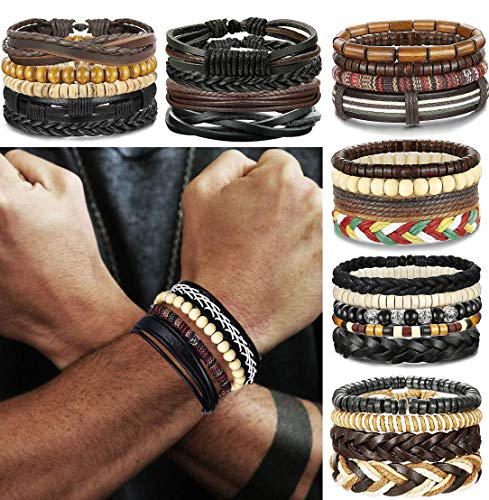 FIBO STEEL 10-26 Pcs Braided Leather Bracelets for Men Women Cool Wrist Cuff Bracelet -