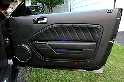 Black Leather-Silver Thread RedlineGoods Door Insert Covers Compatible with Ford Mustang 2005-09