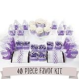 Chevron Purple - DIY Party Favors Kit - 40 Piece Decoration Set