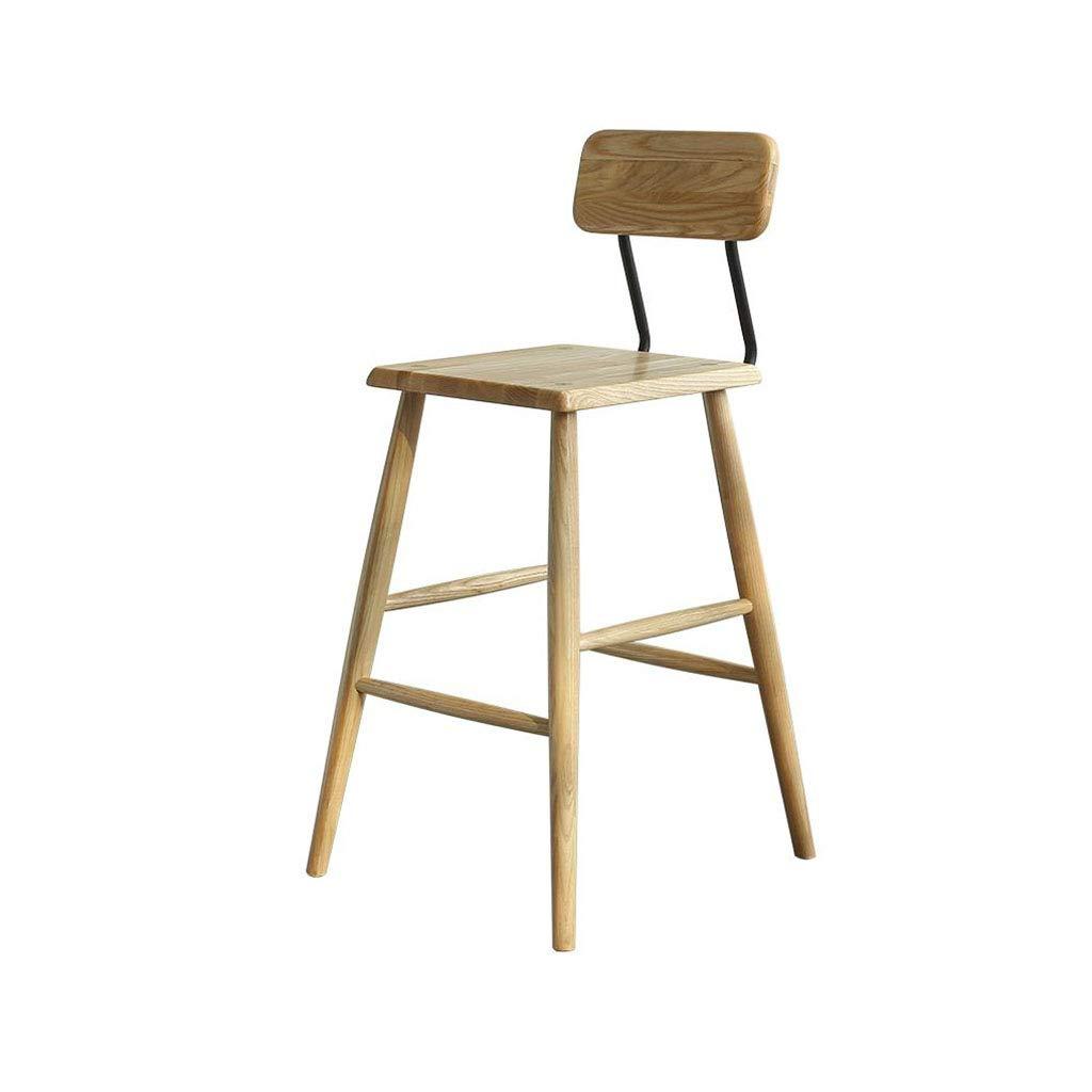 高い椅子 ソリッドウッド製バースツール背もたれ背の高い椅子キッチン朝食パブ B07SZCC43P
