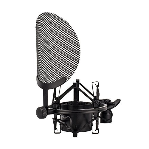 Nady SSPF-4 Spider Shockmount with Integrated Pop Filter – fits any microphone with 38-53mm diameter – Vocal recording, large condenser set up