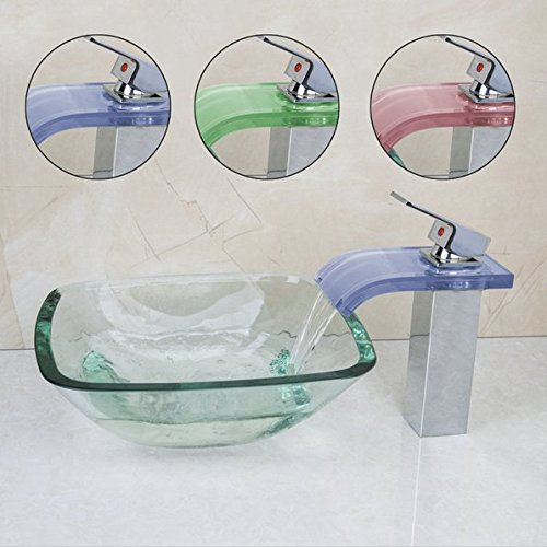 GOWE Square Glass Wash Basin Vessel Sink With Chrome Bathroom LED Faucet Glass Sink Set 0