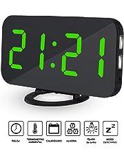 AVEDISTANTE Reloj Despertador Electrónico Digital Espejo LED Dual USB Puertos Snooze Memoria Automática Reloj con Función de Alarma (Verde)