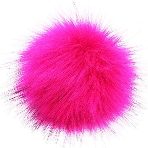 DIY 3.9inch (10CM) Faux Fox Fur Pom Pom Ball - 2PCS (Hot Pink)