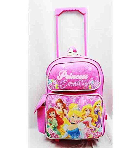 Large Rolling Backpack - Disney - Princess w/ Flowers Pink School Bag New a03887