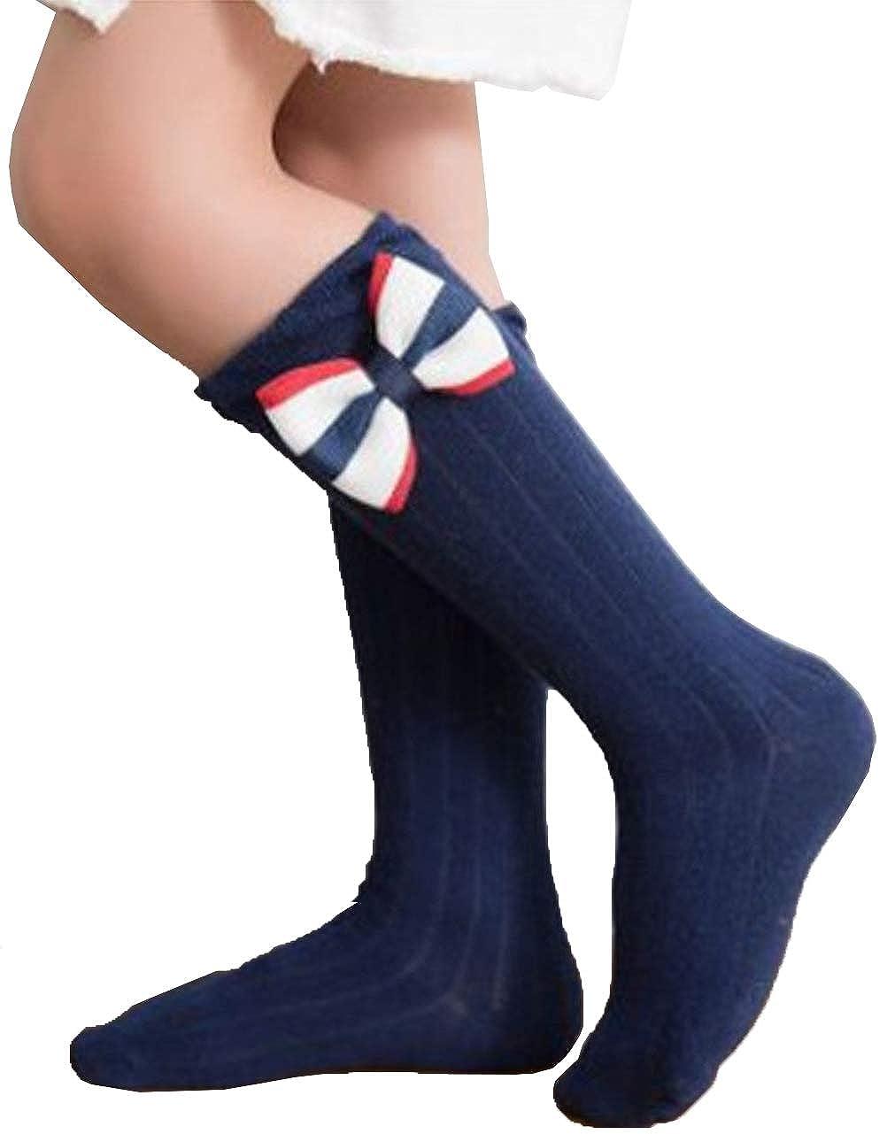 TUSFTAY Kid Baby Girls Knit Bow Socks Cotton Stockings