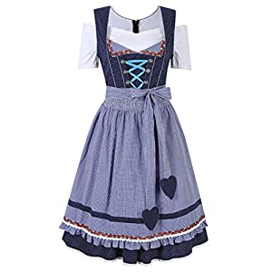 GloryStar Women's German Dirndl Dress Traditional Bavarian Oktoberfest Costumes for Halloween Carnival