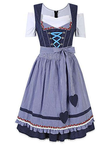 GloryStar Women's German Dirndl Dress 3 Pieces Traditional Bavarian Oktoberfest Costumes for Halloween Carnival