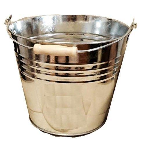 Galvanised Bucket Heavy Duty Strong Metal Bucket Steel Ash Pan Wooden Handle 12lt homewares