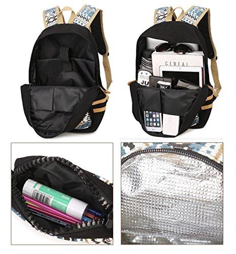 """Artone Universo Azul Casual Mochila Fit 15"""" Portátil Con La caja de lápiz Galaxy y Crossbody Bolsa Conjunto Black Ethnic Lunch Bag Pencil Case Set of 3"""