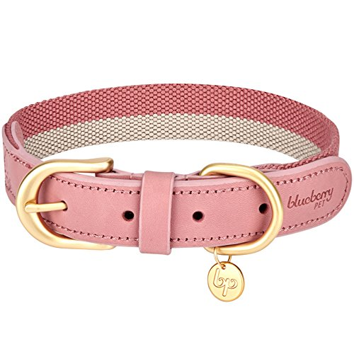 Picture of Blueberry Pet 8 Colors Polyester Fabric and Soft Genuine Leather Webbing Dog Collar in Pink and Grey, Medium, Neck 15